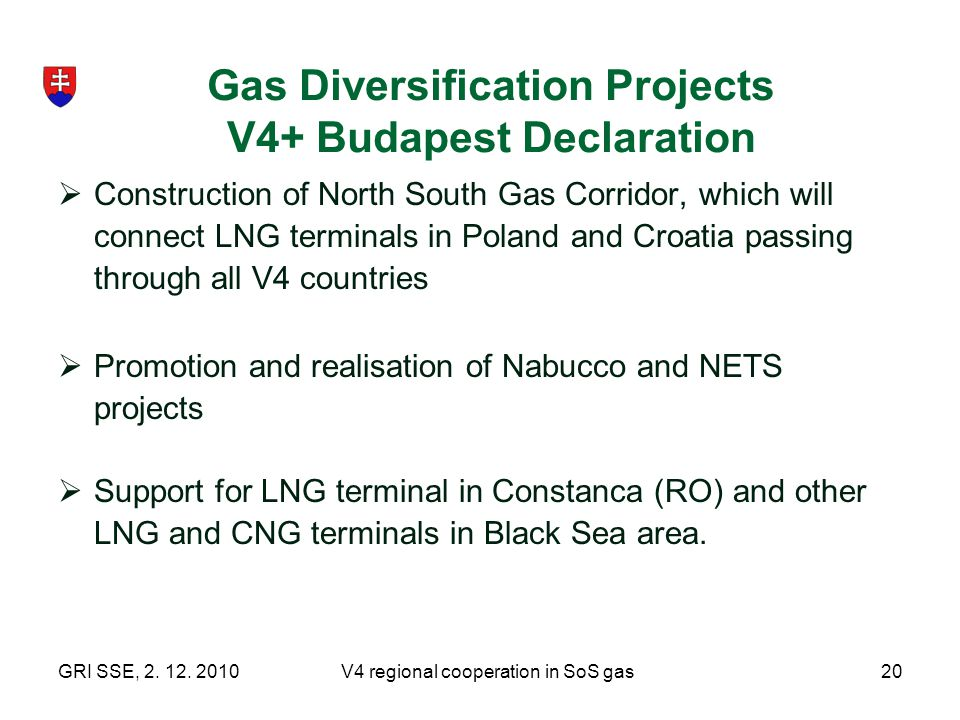 Gas Diversification Projects V4+ Budapest Declaration
