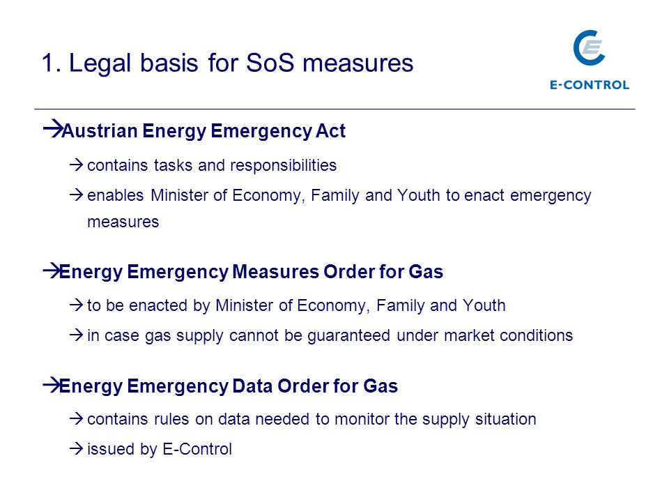 1. Legal basis for SoS measures