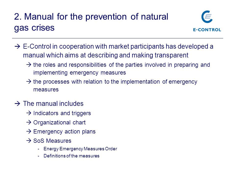 2. Manual for the prevention of natural gas crises