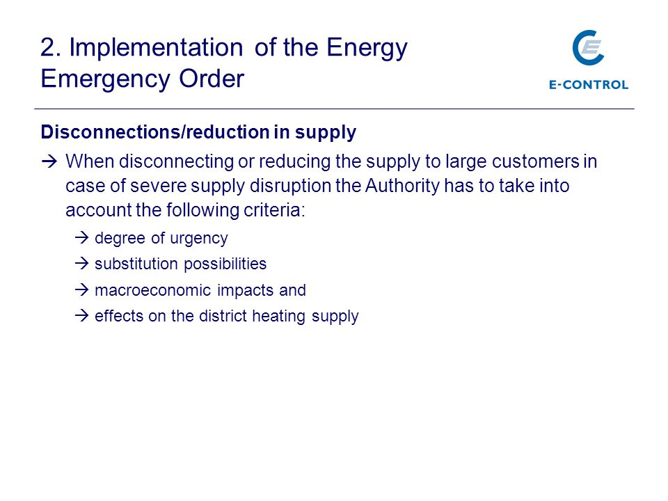 2. Implementation of the Energy Emergency Order