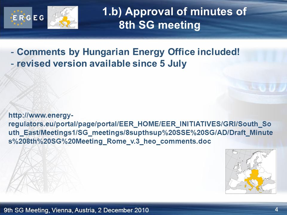 1.b) Approval of minutes of 8th SG meeting
