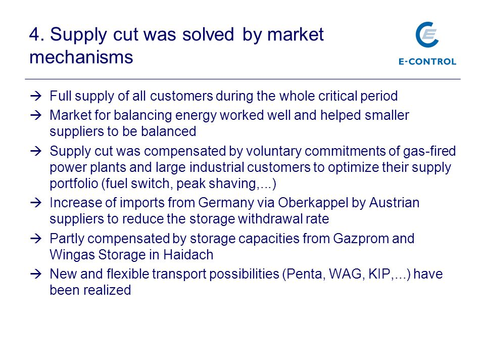 4. Supply cut was solved by market mechanisms