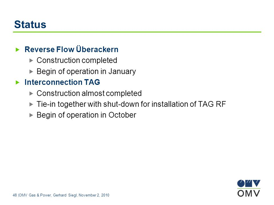 Status Reverse Flow Überackern Construction completed
