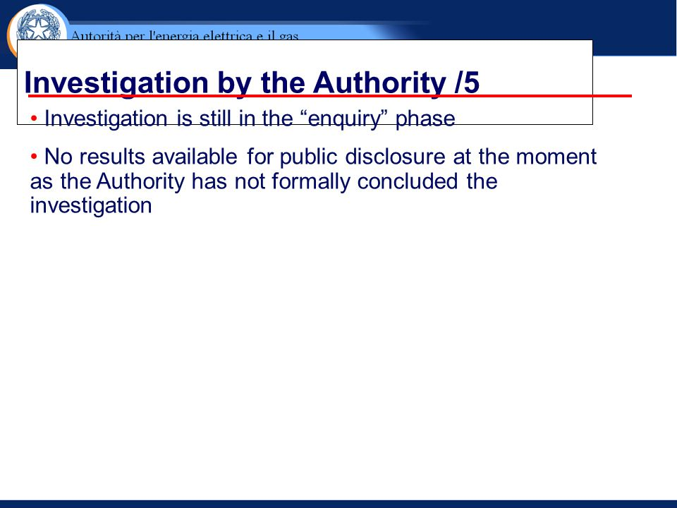 Investigation by the Authority /5