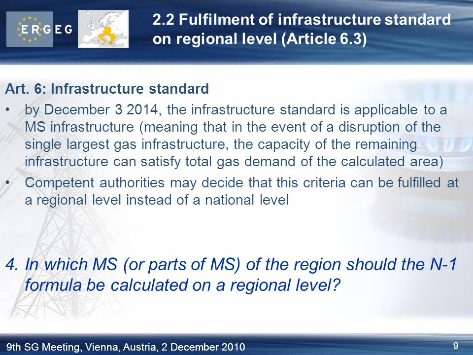 2.2 Fulfilment of infrastructure standard on regional level (Article 6.3)