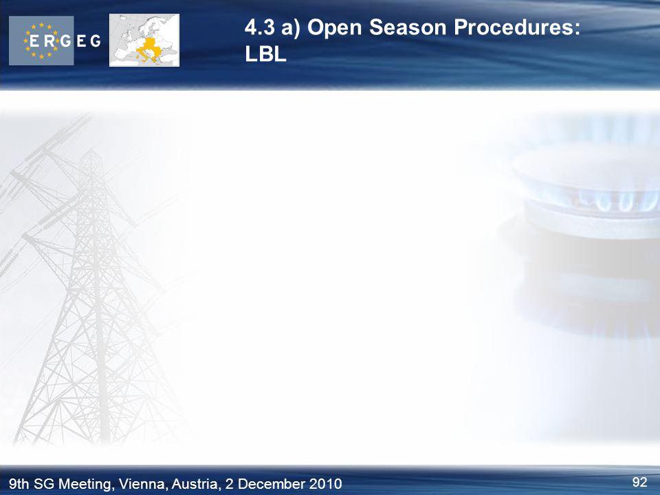4.3 a) Open Season Procedures: LBL
