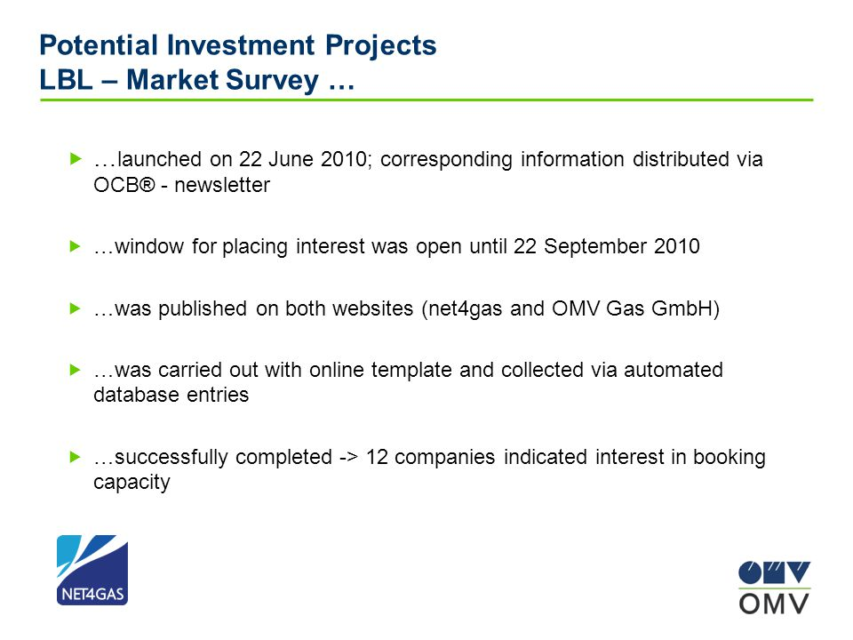 Potential Investment Projects LBL – Market Survey …