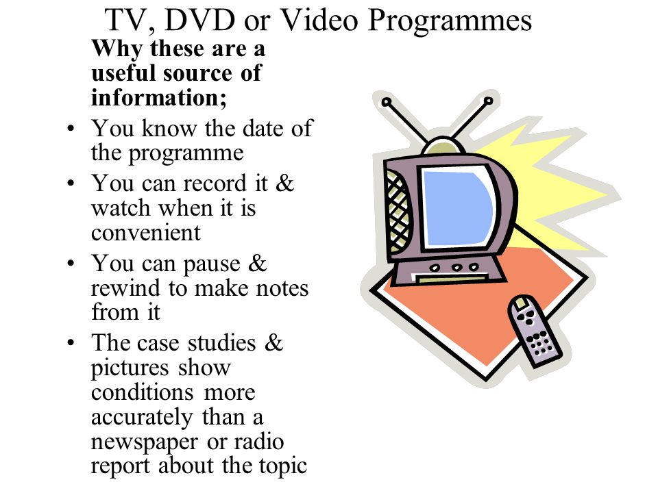 TV, DVD or Video Programmes