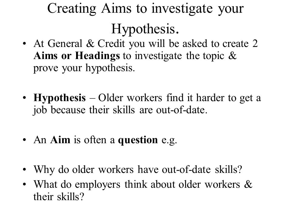 Creating Aims to investigate your Hypothesis.
