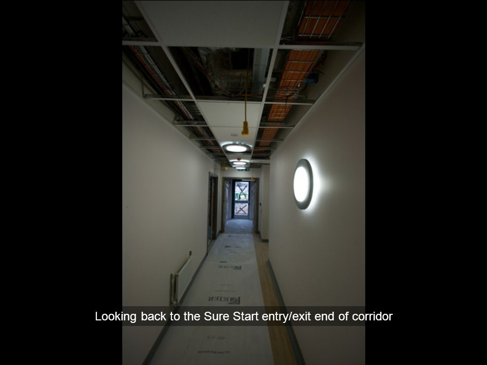 Looking back to the Sure Start entry/exit end of corridor