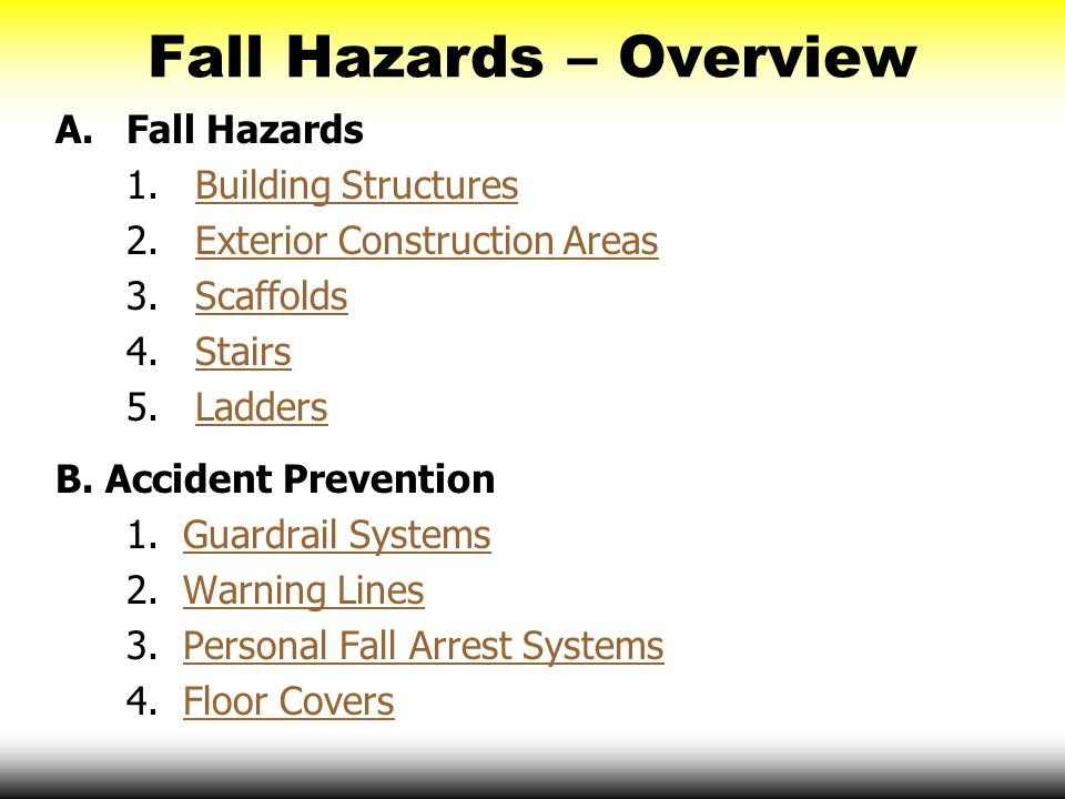 Fall Hazards – Overview