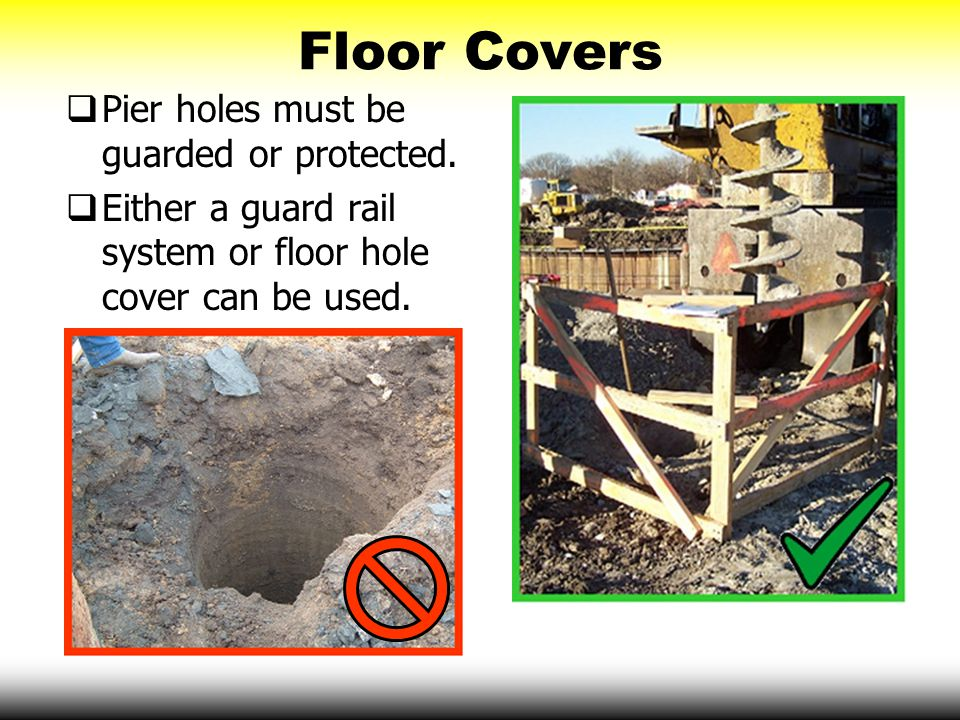 Floor Covers Pier holes must be guarded or protected.