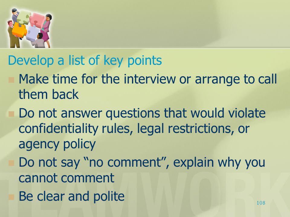 Develop a list of key points