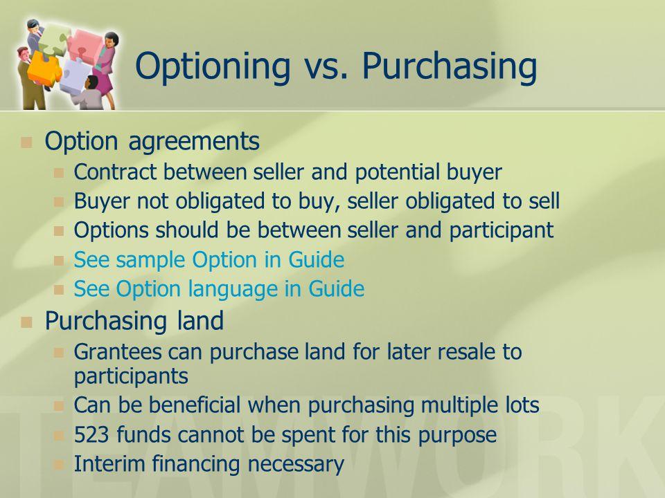 Optioning vs. Purchasing