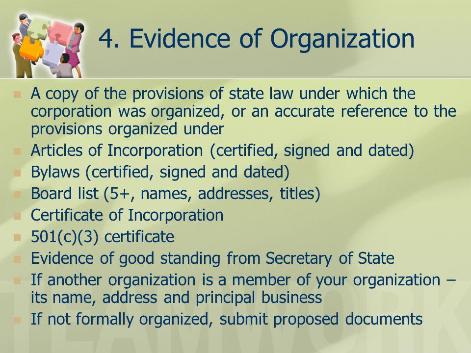 4. Evidence of Organization