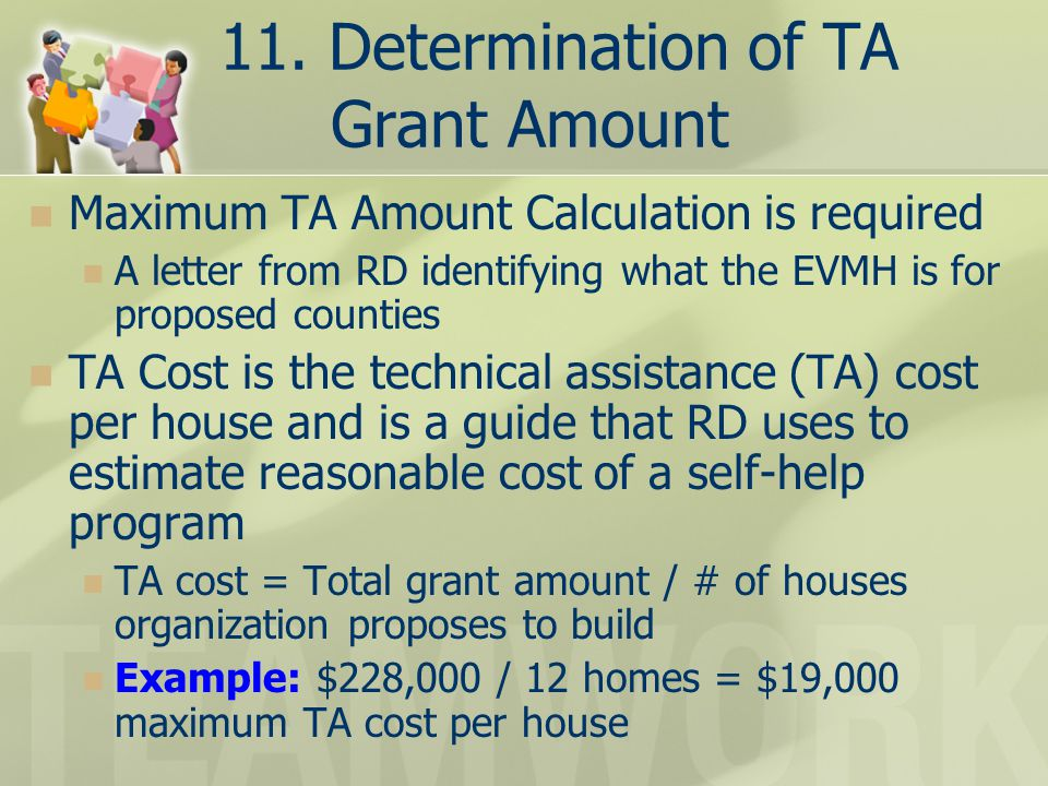 11. Determination of TA Grant Amount