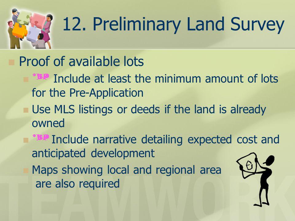 12. Preliminary Land Survey