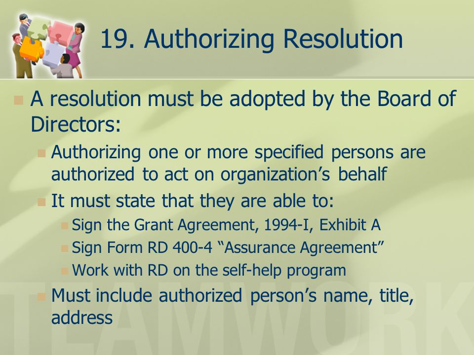 19. Authorizing Resolution