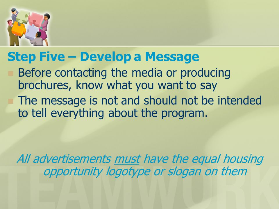 Step Five – Develop a Message