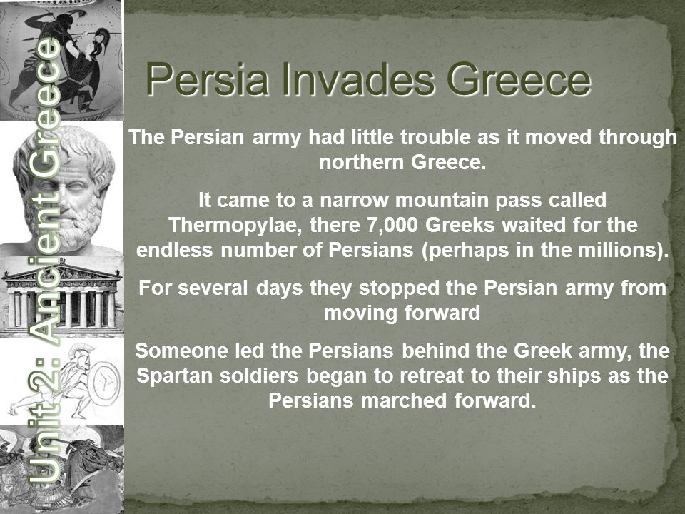 For several days they stopped the Persian army from moving forward