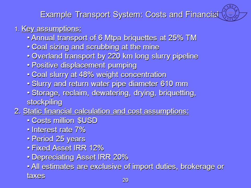 Example Transport System: Costs and Financial