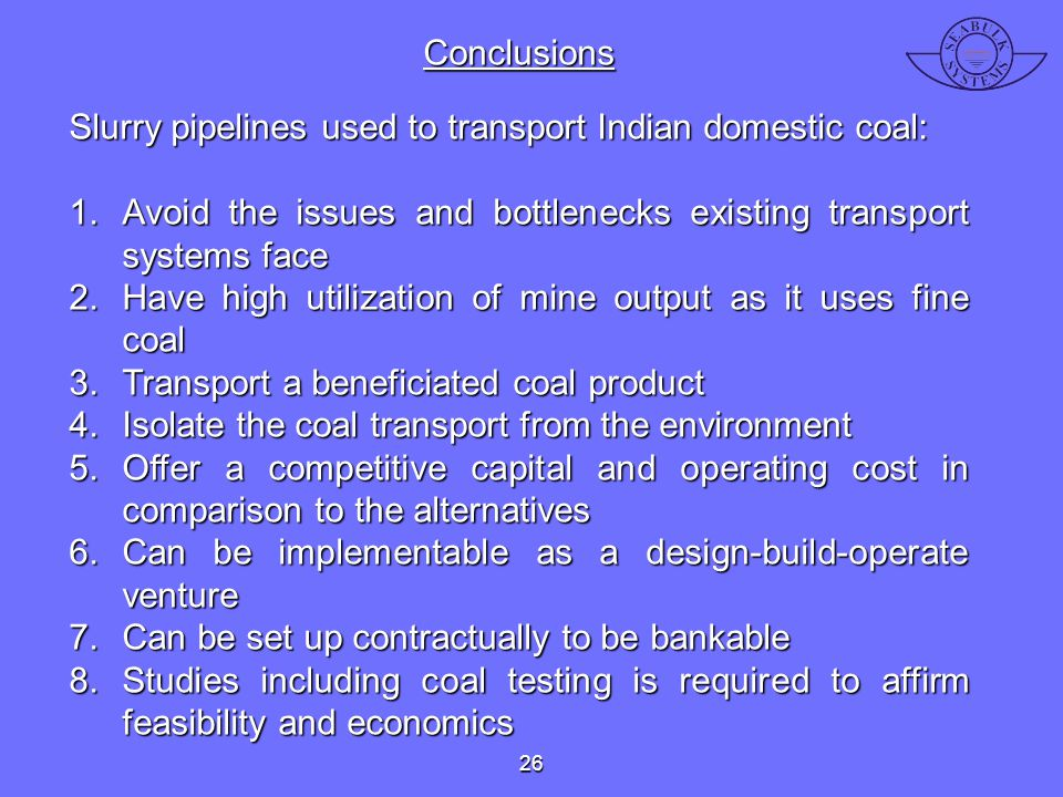 Slurry pipelines used to transport Indian domestic coal: