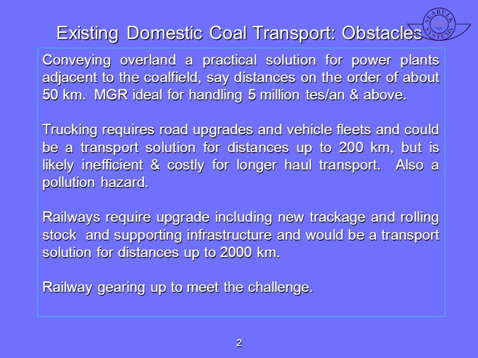 Existing Domestic Coal Transport: Obstacles