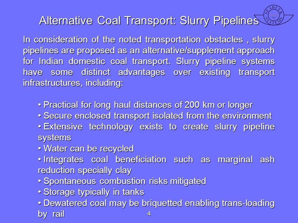 Alternative Coal Transport: Slurry Pipelines