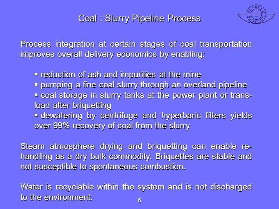 Coal : Slurry Pipeline Process