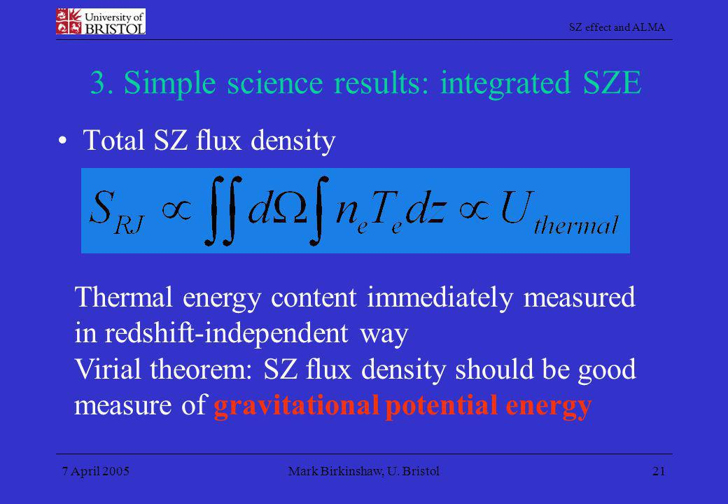 3. Simple science results: integrated SZE