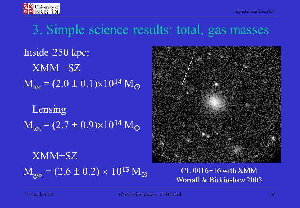 3. Simple science results: total, gas masses