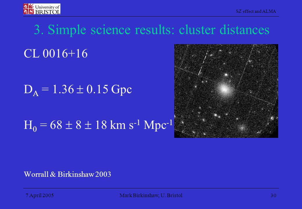 3. Simple science results: cluster distances
