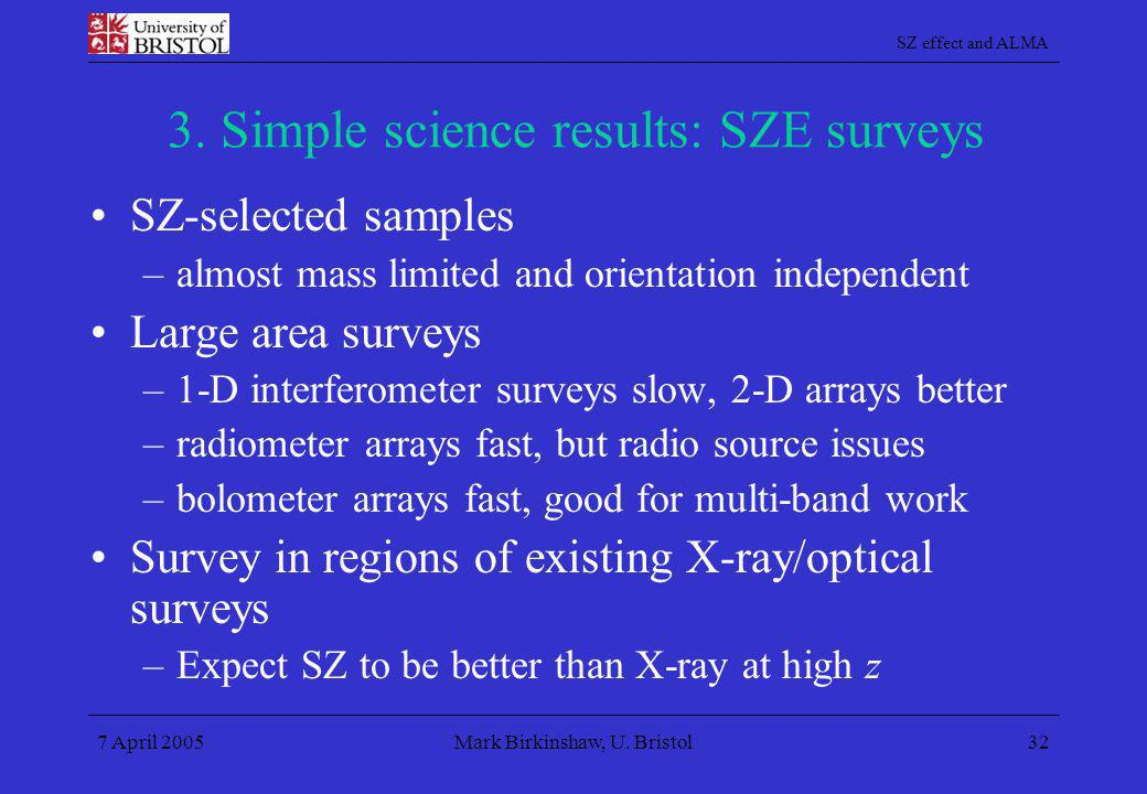 3. Simple science results: SZE surveys