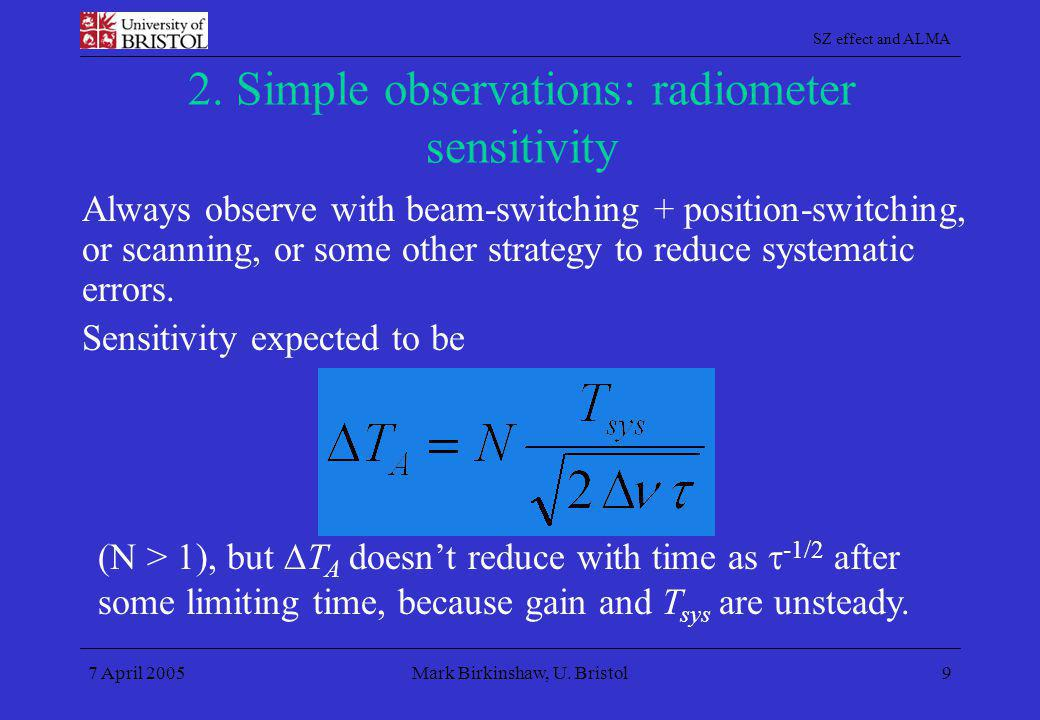 2. Simple observations: radiometer sensitivity