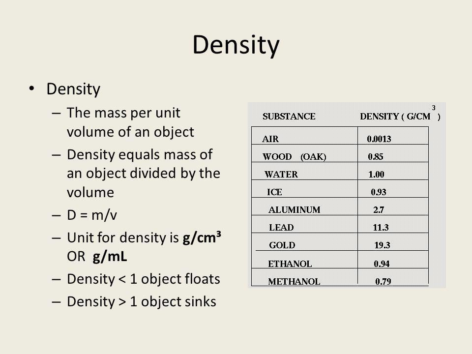 Density Density The mass per unit volume of an object