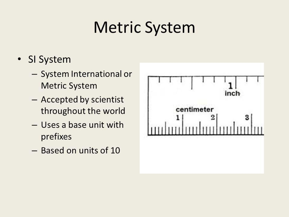 Metric System SI System System International or Metric System