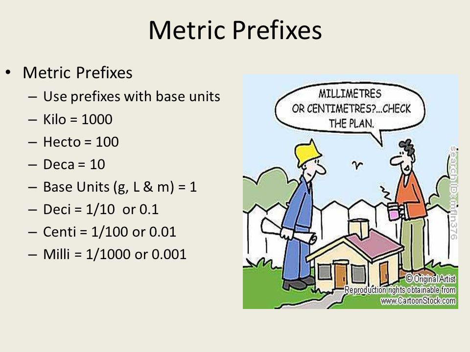 Metric Prefixes Metric Prefixes Use prefixes with base units