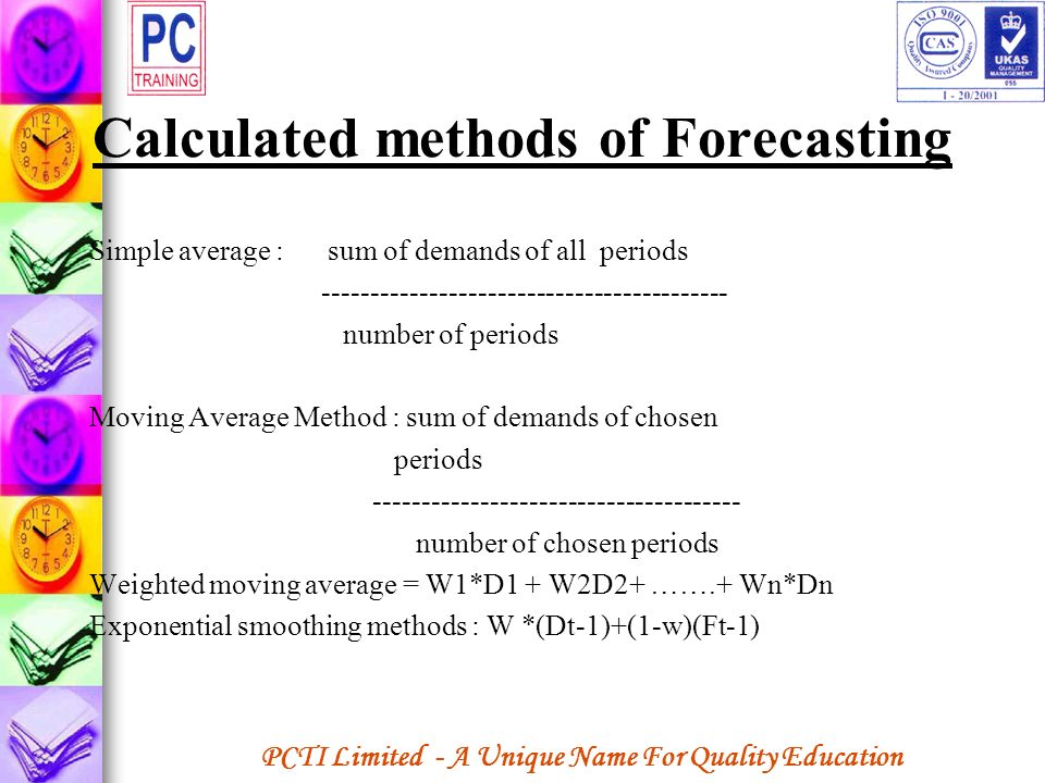 Calculated methods of Forecasting
