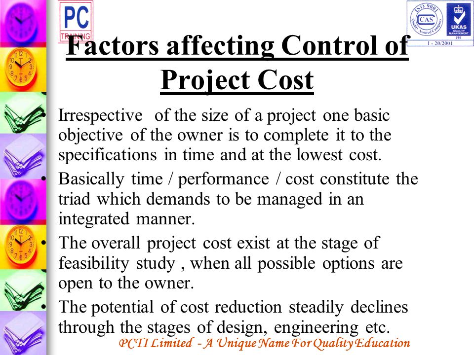 Factors affecting Control of Project Cost