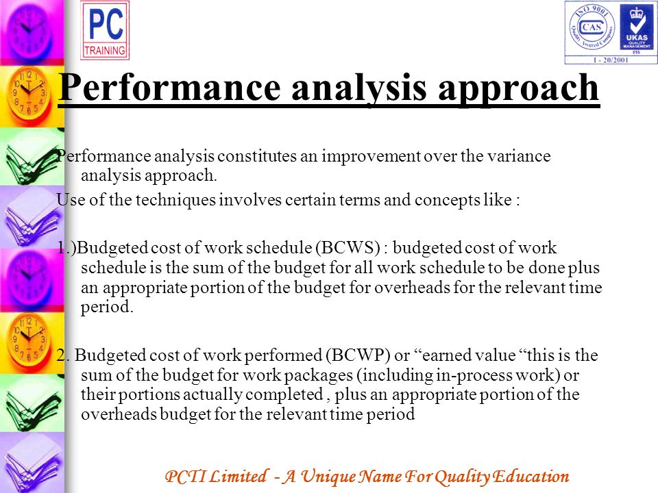 Performance analysis approach