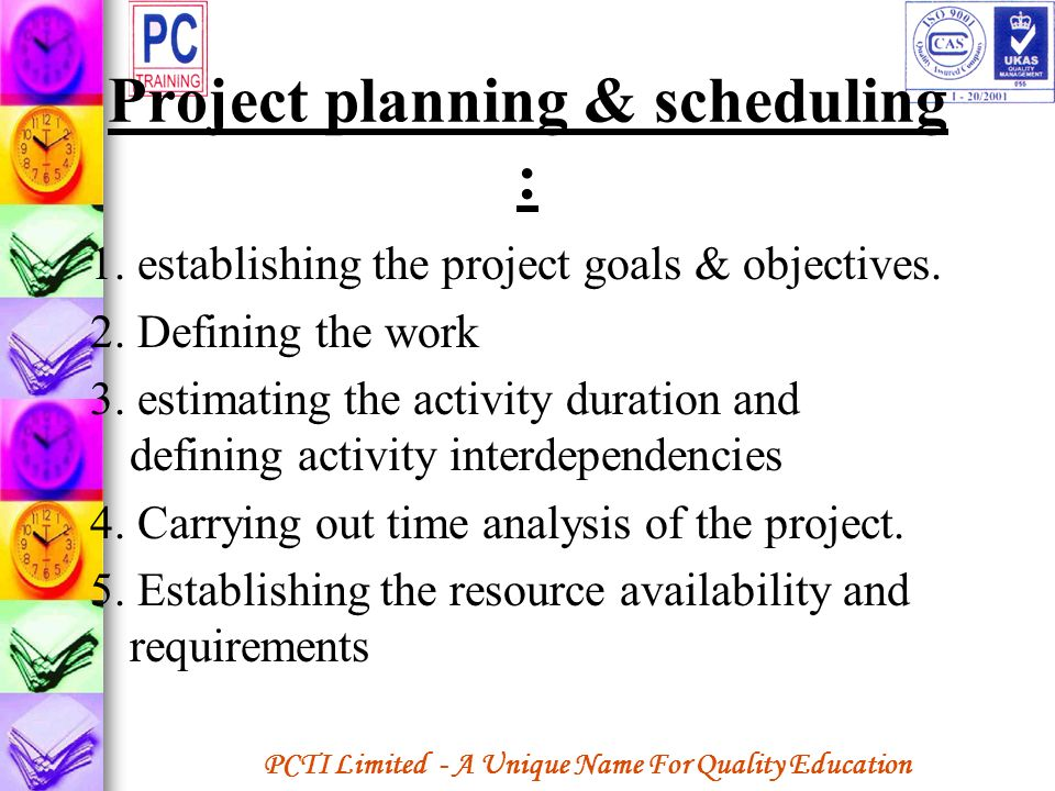 Project planning & scheduling :