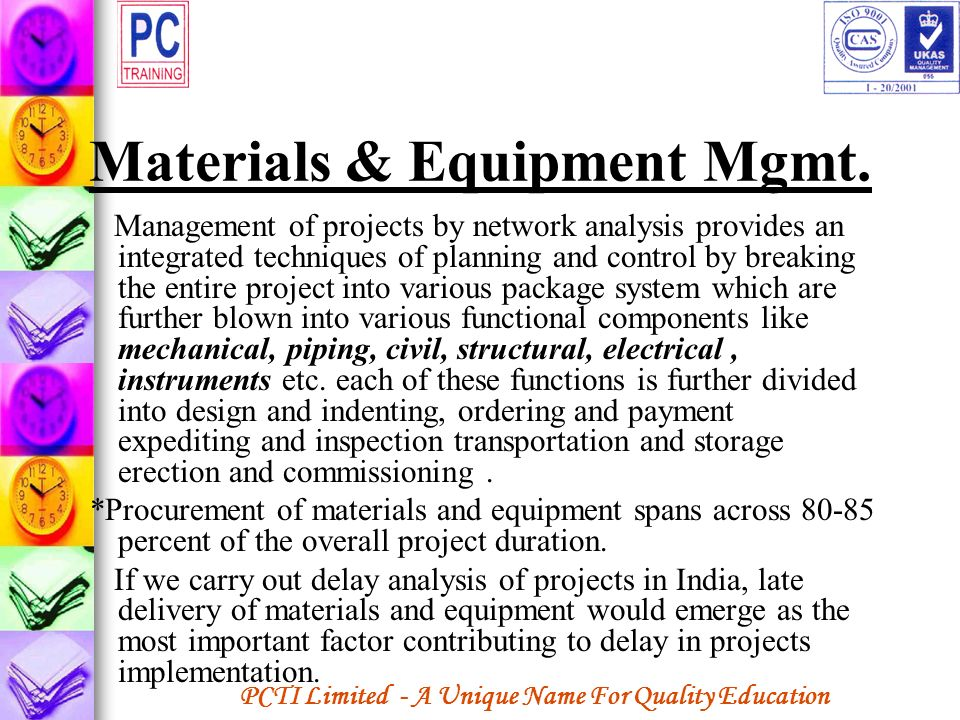 Materials & Equipment Mgmt.