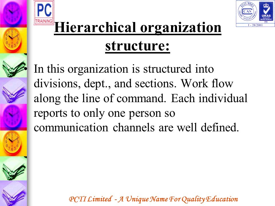 Hierarchical organization structure: