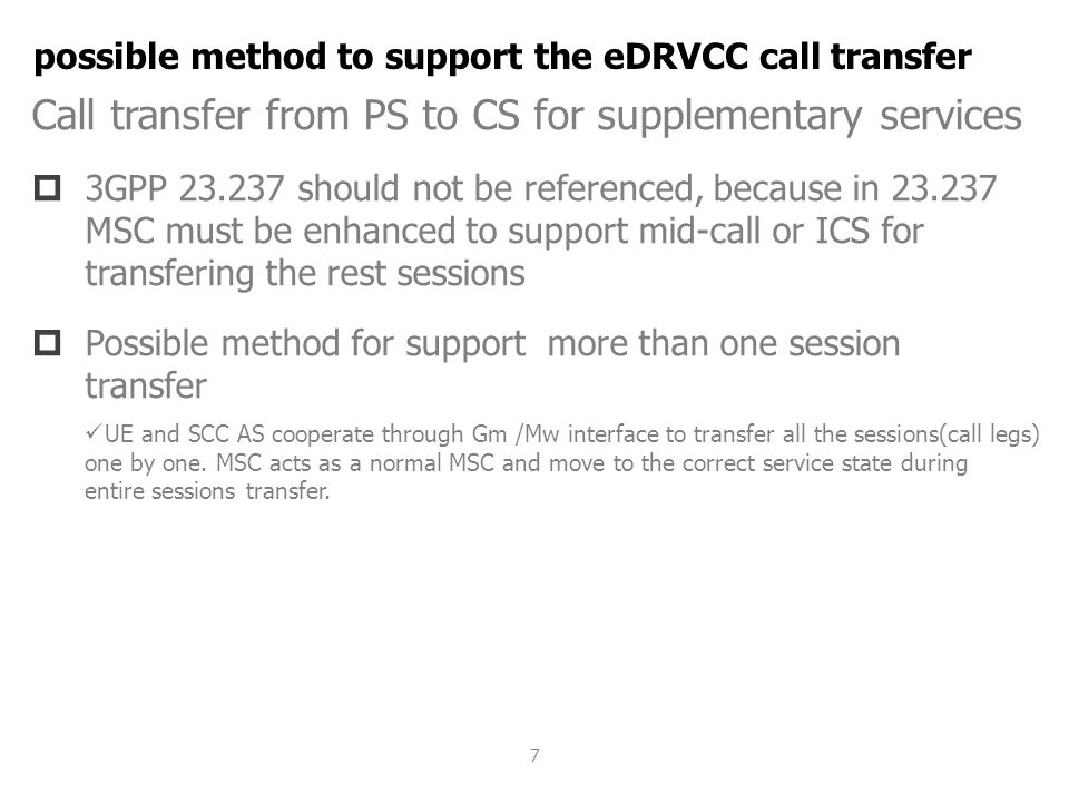 possible method to support the eDRVCC call transfer
