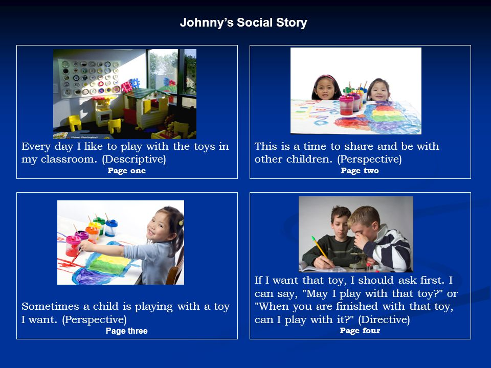 Johnny's Social Story Every day I like to play with the toys in my classroom. (Descriptive) Page one.