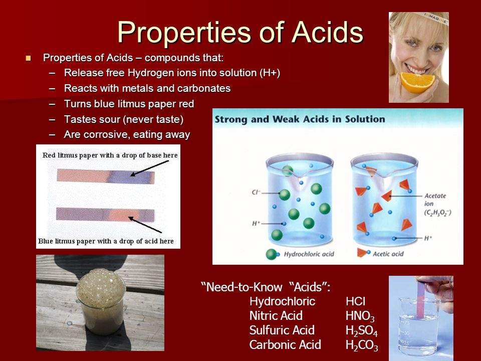 Properties of Acids Need-to-Know Acids : Hydrochloric HCl