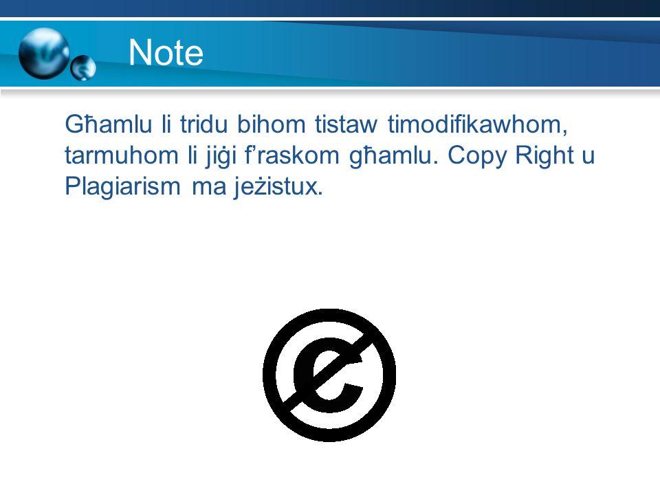 Note Għamlu li tridu bihom tistaw timodifikawhom, tarmuhom li jiġi f'raskom għamlu.