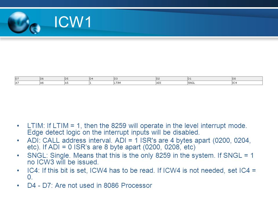 ICW1 LTIM: If LTIM = 1, then the 8259 will operate in the level interrupt mode. Edge detect logic on the interrupt inputs will be disabled.