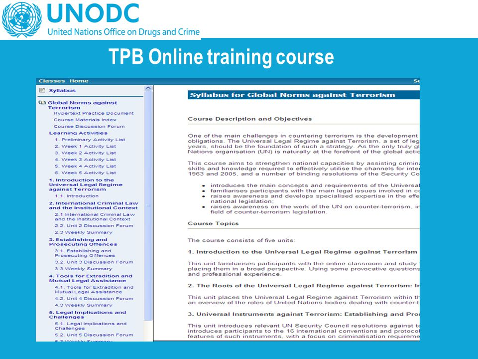 TPB Online training course