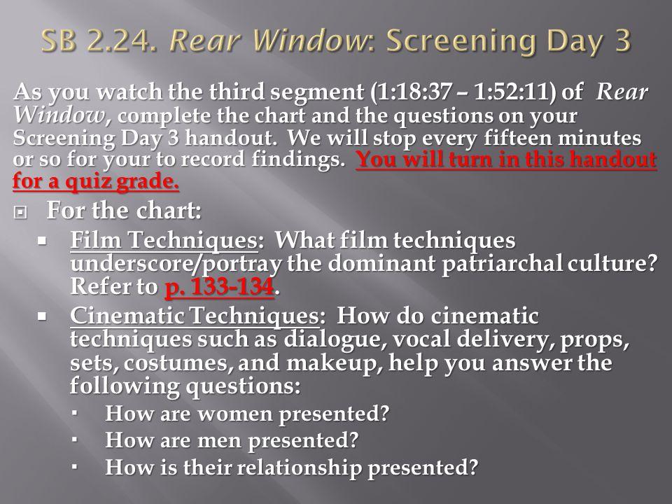 SB 2.24. Rear Window: Screening Day 3